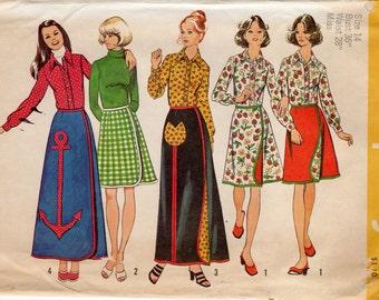 1970s Wrap Skirt & Blouse Pattern - Vintage Simplicity 5521 - Size 14 Bust 36 UNCUT FF