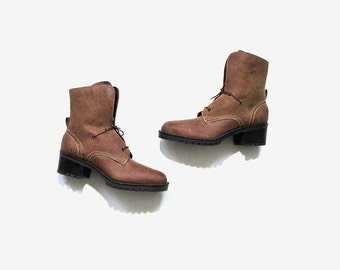 Vintage Ankle Boots 6 / Brown Leather Boots / Lace Up Boots / Ankle Boots Women