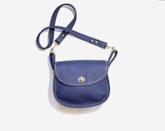 Vintage Leather Satchel / Navy Leather Satchel / Leather Saddle Bag