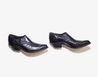 Vintage Ankle Boots 7.5 / Black Leather Winklepickers / Ankle Boots Women / Leather Ankle Boots