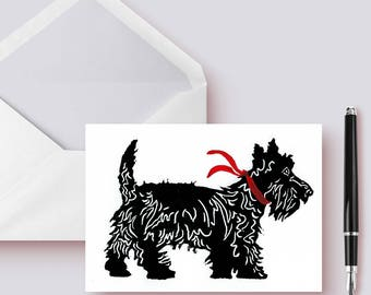 Scottie Dog Hand Printed Linocut Stationery Card Set