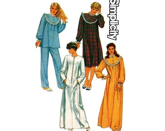 Simplicity 6626 80s Womens Pajamas Nightgown & Zip Front Caftan Style Maxi Robe Vintage Sewing Pattern Size 14 Bust 36 inches UNCUT F Folds