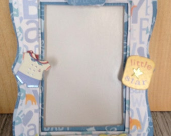 Baby Boy, Bundle of Joy, Blue, Beautiful Paper Embellished Frame 4x6 Photo
