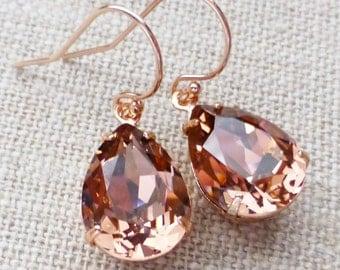 Blush Rose Swarovski Rose Gold Crystal Rhinestone Pear Teardrop Earrings, Vintage Pink, Bridesmaid Gifts, Bridal Jewelry, Gift for Her