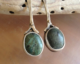 Jade Green Beach Stone and Silver Twigs earrings on sterling silver posts