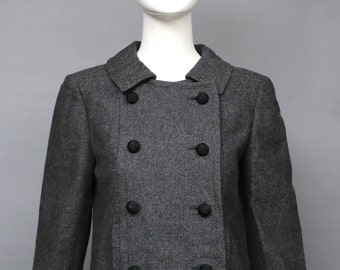 60s BEN ZUCKERMAN charcoal gray wool cropped jacket w/ woven buttons classic 1960s vintage  small