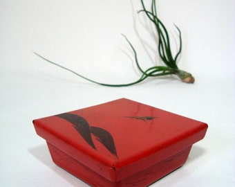 Small Lacquer Box and Lid Shiny Vintage Red Asian Accent for Shelf or Desk