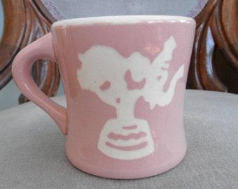 Vintage Pink Cameoware Harker Child's Mug