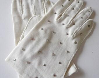 Vintage White Gloves with Rhinestones - White Gloves - Ladies White Gloves - Ladies Gloves - Young Girl's Gloves - Dress Gloves - Gloves