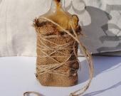 Antique Altered Bottle - Antique Bottles, Glass Bottles, Bottles, Vases, Hanging Vases, Burlap, Altered Bottles, Rustic, Home Decor