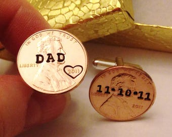 Custom DAD Cuff Links: Fathers Day, Birthday, Wedding; Stamped Penny Cufflinks; Personalized Mens, Initials/Dates; 1959-2017; Hearts Option
