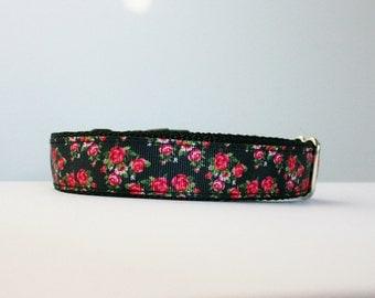 Pink Rose Dog Collar or Matching Lead Seat Belt
