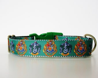 """Harry Potter Slytherin Dog Collar or Matching Lead Leash Seat Belt 3/4"""" or 1"""" width"""