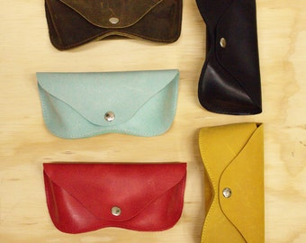 SALE Leather sunglasses case black light blue, red or black