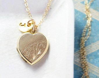 Small Gold Heart Locket Necklace, 9ct Back & Front Yellow Gold Vintage Pendant with Custom Initial Charm - Golden Love