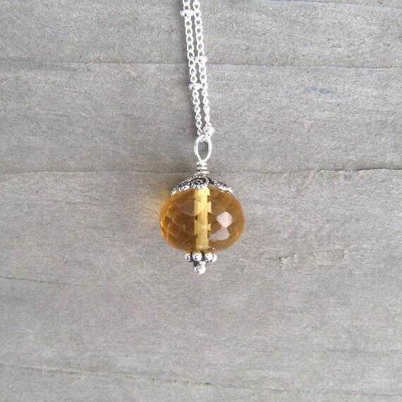 Citrine Necklace,  Yellow Gemstone Pendant,  November Birthstone Jewelry,  Sterling Silver,  Citrine Jewelry