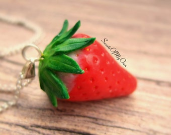 Strawberry Necklace - Strawberry Fruit Jewellery - Bright Red - Handmade in UK with Polymer Clay