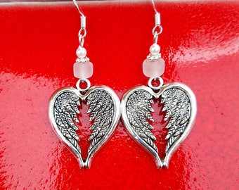 White Angel Wing Heart Earrings, White Angel Wings Sterling Silver Earrings, White Wings Earrings, Wings Sterling Silver Earrings