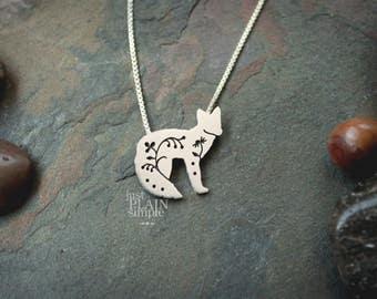 Floral Fox Pendant, sterling silver fox, wild fox necklace, wildflower, wildlife