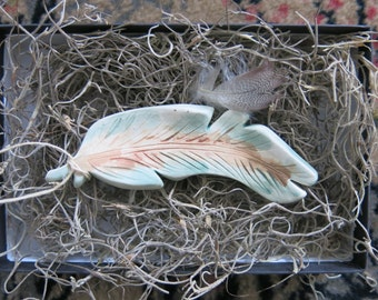Woodland Ceramic Bird Feather Ornament Charm Porcelain White Home Decor House Gift Idea, Handmade Artisan Pottery by Licia Lucas Pfadt