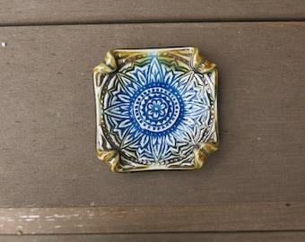 Aqua Blue & Brown Ceramic Trinket Dish Sunflower Mandala Spoon Rest Votive Holder Home Decor, Handmade Artisan Pottery by Licia Lucas Pfadt