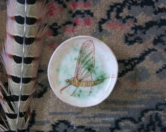 Tiny Ceramic Trinket Dish Woodland Mayfly Insect Bug Hand Drawn Fine Art One of a Kind Home Decor, Handmade Pottery by Licia Lucas Pfadt