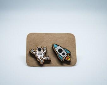 Astronaut and space rocket wooden earrings, OOAK.