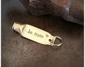 Valentine Bullet, Be Mine, Valentines Day, Unisex Gift, Hand Stamped, Zipper Charm, Bullet Keychain, Bullet Jewelry, 223 Brass, Rustic, Hunt
