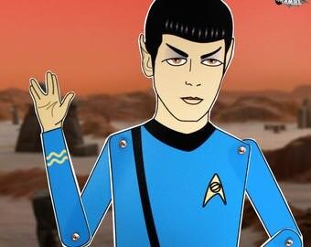 Mr Spock Leonard Nimoy Star Trek tribute fan art paper doll assembled articulated Trekkie gift