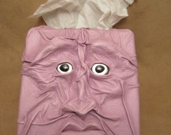 "Grichels leather tissue box cover - ""Tibit"" 29357 - lavender pink with custom silver fish eyes"