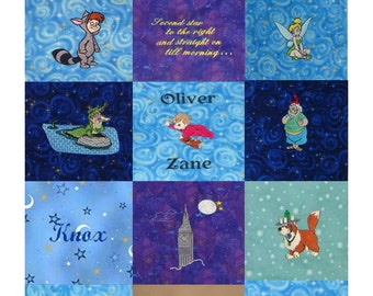 Embroidered Peter Pan Quilt Blocks -  Your choice of Character and Fabric