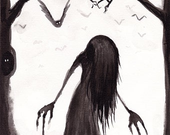 Original InkTober 2016 drawing Day 27 Creepy Illustration