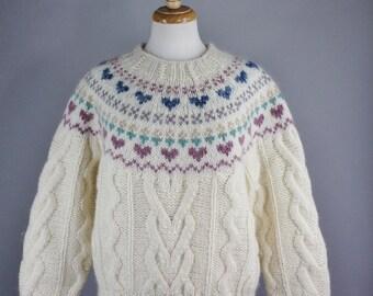 Womens Cream Fair Isle Wool Sweater, Nordic Sweater, Vintage 80s, Hearts, Rare Sweater, Novelty Sweater, Cabin, Ski, Winter, Size Medium
