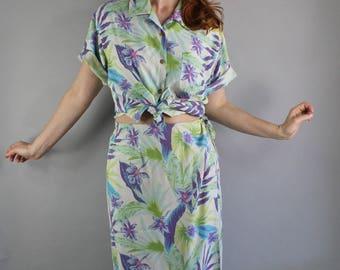 FREE SHIPPING Vintage Womens Silk Hawaiian Dress Set, Tropical Shirt and Wrap Skirt, Maxi Skirt, Purple, Green, Tiki Party, Large
