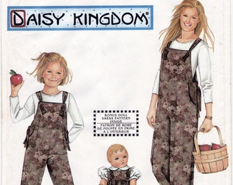 """Simplicity 9920 Misses' Overalls Size XS - XL, Child's Overalls Size 3 - 8 and 18"""" Doll Romper Sewing Pattern, Uncut"""