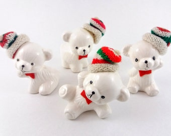 Set of 4 Vintage Baby Polar Bear Figurines with Knitted Hats, Ceramic Snow Bear Figurines Ornaments with Original Box, Vintage Christmas