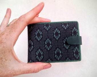Vintage Womens Billfold Wallet, Made in ITALY for Carson Pirie Scott, Aqua Blue Genuine Leather, Black Floral Lace Overlay, Ladies Wallet