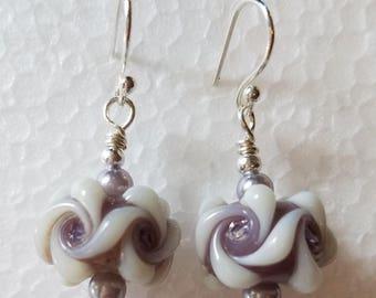 Dusty Purple & Cream Lampwork Bead Earrings Sterling Silver