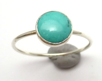 Turquoise Stacking Ring Handmade Lisajoy Sachs Size 7 December Birthstone Sterling Silver Sleeping Beauty