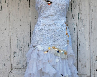 Dress, mermaid , faerie, wedding dress, alternative wedding, shabby chic, jane austen, upcycled couture, eco chic,summer wedding, lace,white