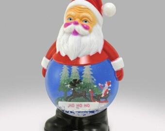 Vintage Santa plastic Snow Globe Snowdome - Ho Ho Ho