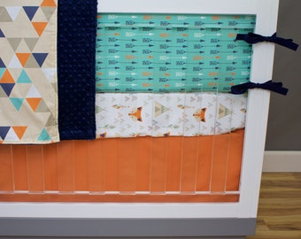 Baby Bedding Fox, Crib Bedding, Triangles Arrows Fox Teepee Tribal Southwest Teal Mint Orange Navy Nursery Set