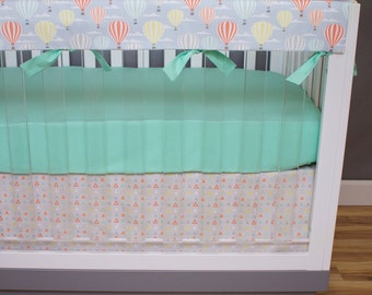 Expolorer Gender Neutral Crib Bedding, Baby Bedding, Hot Air Balloons, Mountains, Triangles, Mint, Coral, Salmon, Blue, Yellow Nursery Set