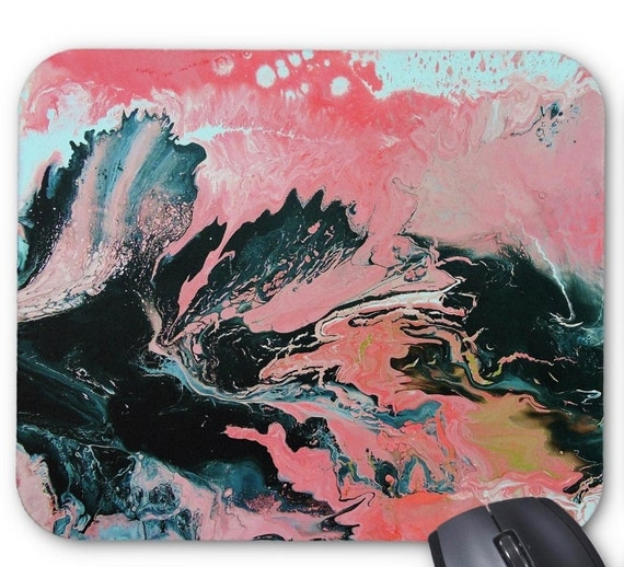 Mousepad Mouse Pad Fine Art Painting Abstract Coral Fine Art Contemporary Modern 'Coral Overture' Peach Gold Black White Art Fluid