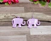 Lavender Elephant Earrings - Ganesh Earrings - Bohemian Elephant Earrings - Pastel earrings - Free US Shipping