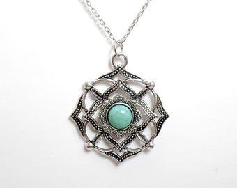Turquoise Root Chakra Necklace - Muladhara Necklace -Chakra Symbol