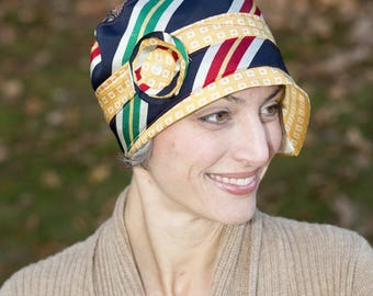 Upcycled Recycled Repurposed Blue Red Yellow White Cloche Flapper Hat for Women by Lulu Bea