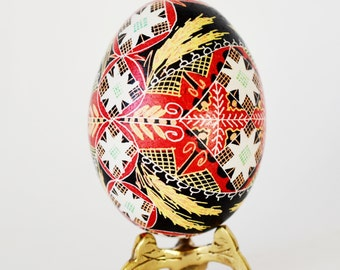gift idea for wife's birthday Intricate Pysanka Ukrainian Easter Egg hand decorated chicken egg shell beautiful re Christmas ornament gift