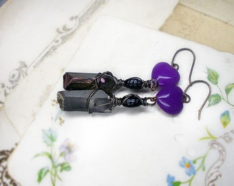 Rustic Wire & Quartz Assemblage Earrings - Silver n Purple Iridescent Crystal Points under Stone Purple Hearts, Vintage Black Glass
