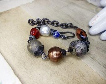 Beaded Bracelet - Rustic Assemblage Link Bracelet - Vintage Glass, Polymer Clay Beads - Steel Wire Links - Adjustable Length Beaded Bracelet